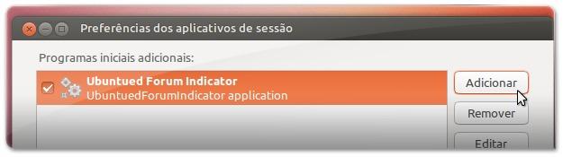 2 - Clique em Adicionar para acrescentar uma nova aplicação ao arranqueM