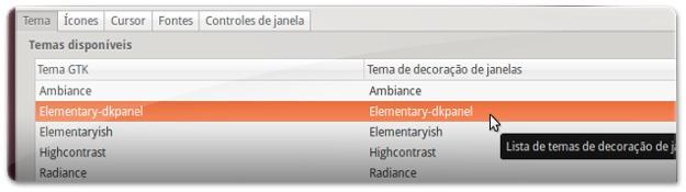 A escolher o Tema do Ubuntu 13.04
