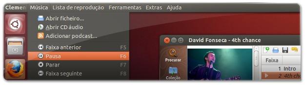 Clementine é uma aplicação QT e agora tem suporte para HUD e menu Global