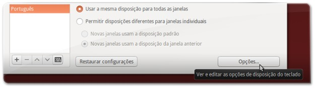 a abrir as opções de disposição do teclado Português