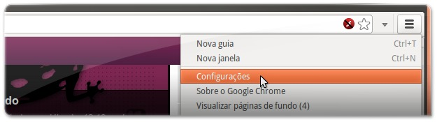 A abrir as configurações do Google Chrome