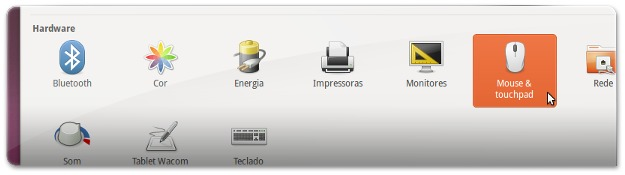 A abrir as opções do Mouse e Touchpad no Ubuntu