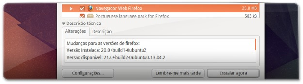 Atualize o UBuntu para receber o Firefox 21