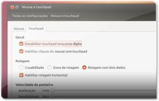 Configurações do Touchpad no Ubuntu 12.10