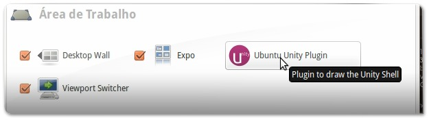 Gestor de Configurações do Compiz: a abrir o Unity