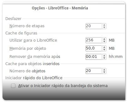 LibreOffice com opções de memória otimizadas