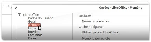 A aceder Às opções de memória do LibreOffice
