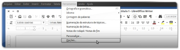 Menus do LibreOffice