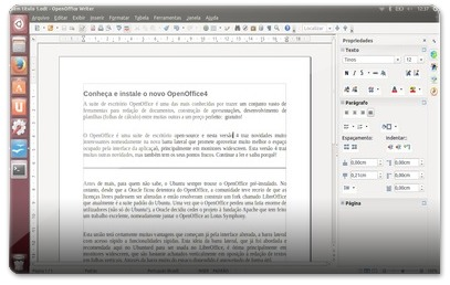 Processador de texto do OpenOffice4, agora com a nova barra lateral