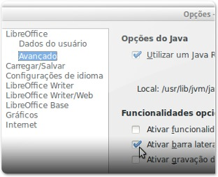 A ativar a barra lateral do LibreOffice 4.1 Avançadas