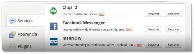 Gerenciamento de serviços sociais no Firefox