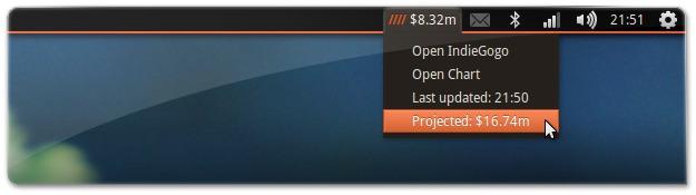 Indicador do Ubuntu Edge no IndieGogo