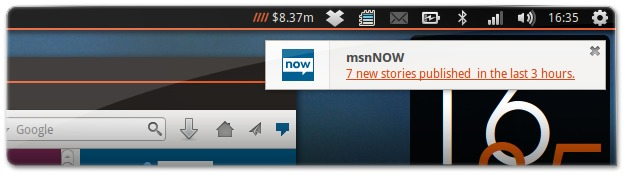 Notificações do msnNOW no Firefox