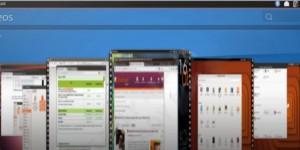 Unity 8 com o coverFlow, apresentando os videos guardados no computador