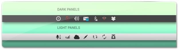 Barras do Ubuntu com os ícones Moca